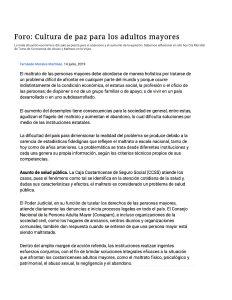 FORO CULTURA DE PAZ